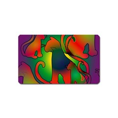 Rainbow Purple Cats Magnet (name Card) by bloomingvinedesign
