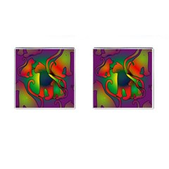 Rainbow Purple Cats Cufflinks (square) by bloomingvinedesign