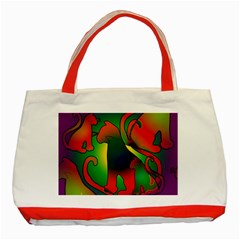 Rainbow Purple Cats Classic Tote Bag (red) by bloomingvinedesign