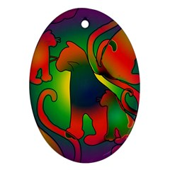 Rainbow Purple Cats Oval Ornament (two Sides) by bloomingvinedesign