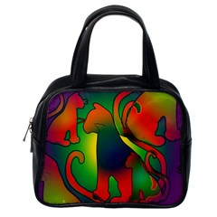 Rainbow Purple Cats Classic Handbag (one Side) by bloomingvinedesign