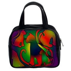 Rainbow Purple Cats Classic Handbag (two Sides) by bloomingvinedesign