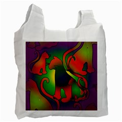 Rainbow Purple Cats White Reusable Bag (two Sides) by bloomingvinedesign