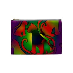Rainbow Purple Cats Cosmetic Bag (medium) by bloomingvinedesign