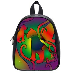 Rainbow Purple Cats School Bag (small) by bloomingvinedesign
