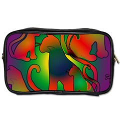Rainbow Purple Cats Travel Toiletry Bag (two Sides) by bloomingvinedesign
