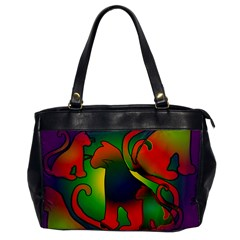 Rainbow Purple Cats Oversize Office Handbag (One Side) by bloomingvinedesign