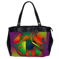 Rainbow Purple Cats Oversize Office Handbag (two Sides) by bloomingvinedesign