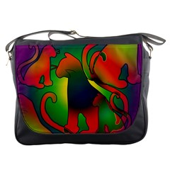 Rainbow Purple Cats Messenger Bag by bloomingvinedesign