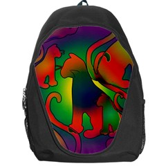 Rainbow Purple Cats Backpack Bag by bloomingvinedesign
