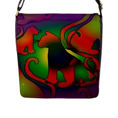 Rainbow Purple Cats Flap Closure Messenger Bag (large) by bloomingvinedesign