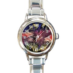 Abstract Of A Cold Sunset Round Italian Charm Watch