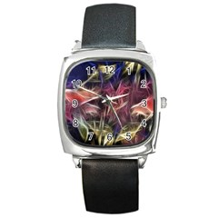 Abstract Of A Cold Sunset Square Leather Watch by bloomingvinedesign