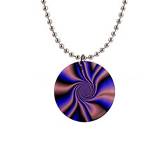 Purple Blue Swirl 1  Button Necklace by LalyLauraFLM