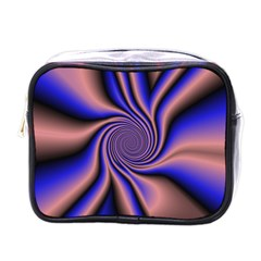 Purple Blue Swirl Mini Toiletries Bag (one Side) by LalyLauraFLM