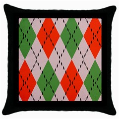 Argyle Pattern Abstract Design Throw Pillow Case (black) by LalyLauraFLM
