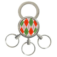 Argyle Pattern Abstract Design 3 Ring Key Chain by LalyLauraFLM