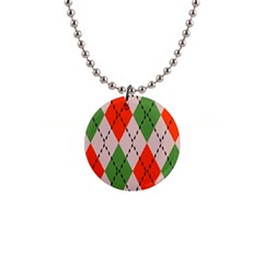 Argyle Pattern Abstract Design 1  Button Necklace by LalyLauraFLM