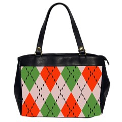 Argyle Pattern Abstract Design Oversize Office Handbag (two Sides) by LalyLauraFLM