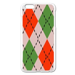Argyle Pattern Abstract Design Apple Iphone 6 Plus Enamel White Case by LalyLauraFLM