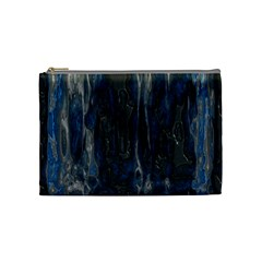 Blue Black Texture Cosmetic Bag (medium) by LalyLauraFLM