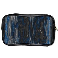 Blue Black Texture Toiletries Bag (two Sides) by LalyLauraFLM