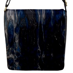 Blue Black Texture Flap Closure Messenger Bag (small) by LalyLauraFLM