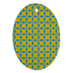 Blue Diamonds Pattern Ornament (oval) by LalyLauraFLM