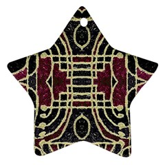 Tribal Style Ornate Grunge Pattern  Star Ornament by dflcprints