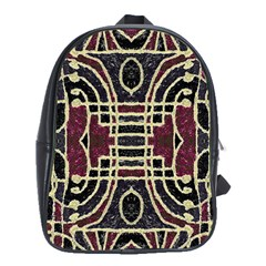 Tribal Style Ornate Grunge Pattern  School Bag (large) by dflcprints