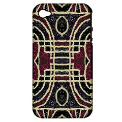 Tribal Style Ornate Grunge Pattern  Apple Iphone 4/4s Hardshell Case (pc+silicone) by dflcprints