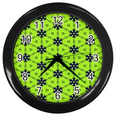 Blue Flowers Pattern Wall Clock (black) by LalyLauraFLM