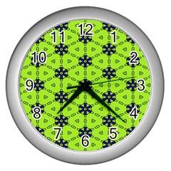 Blue Flowers Pattern Wall Clock (silver) by LalyLauraFLM