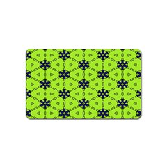 Blue Flowers Pattern Magnet (name Card) by LalyLauraFLM