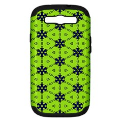 Blue Flowers Pattern Samsung Galaxy S Iii Hardshell Case (pc+silicone) by LalyLauraFLM