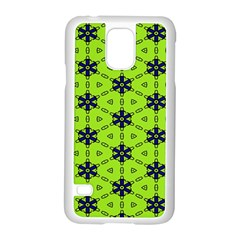 Blue Flowers Pattern Samsung Galaxy S5 Case (white) by LalyLauraFLM