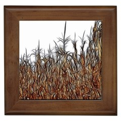 Abstract Of A Cornfield Framed Ceramic Tile