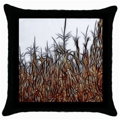Abstract Of A Cornfield Black Throw Pillow Case by bloomingvinedesign