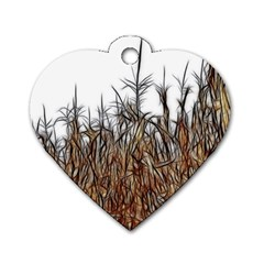 Abstract Of A Cornfield Dog Tag Heart (two Sided) by bloomingvinedesign