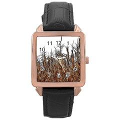 Abstract Of A Cornfield Rose Gold Leather Watch