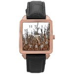 Abstract of a Cornfield Rose Gold Leather Watch  Front