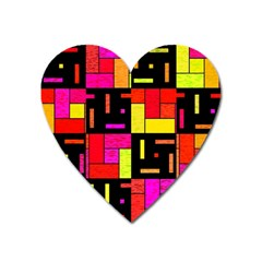 Squares And Rectangles Magnet (heart) by LalyLauraFLM