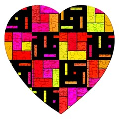 Squares And Rectangles Jigsaw Puzzle (heart) by LalyLauraFLM