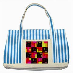 Squares And Rectangles Striped Blue Tote Bag by LalyLauraFLM