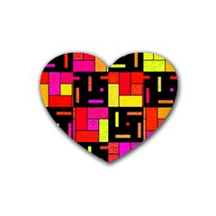 Squares And Rectangles Heart Coaster (4 Pack) by LalyLauraFLM