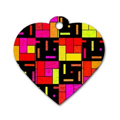 Squares And Rectangles Dog Tag Heart (one Side) by LalyLauraFLM