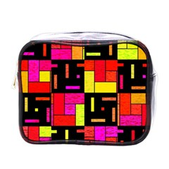 Squares And Rectangles Mini Toiletries Bag (one Side) by LalyLauraFLM