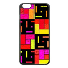 Squares And Rectangles Apple Iphone 6 Plus Black Enamel Case by LalyLauraFLM