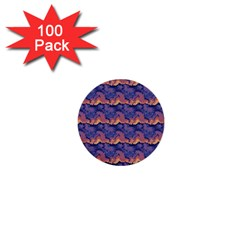 Pink Blue Waves Pattern 1  Mini Button (100 Pack)  by LalyLauraFLM