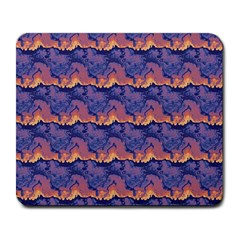 Pink Blue Waves Pattern Large Mousepad by LalyLauraFLM